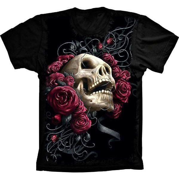 Camiseta Skull Caveira Flowers Rosas