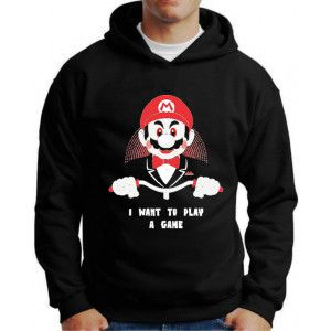 Moletom Mario I Want to Play a Game