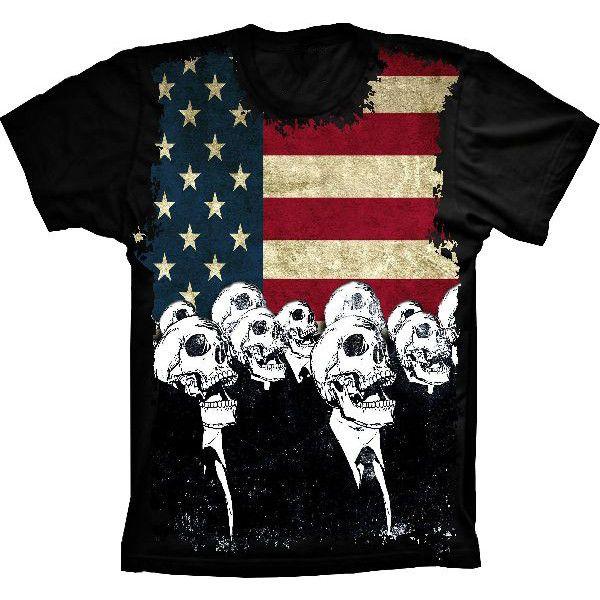 Camiseta Bandeira Dos Estados Unidos Caveiras