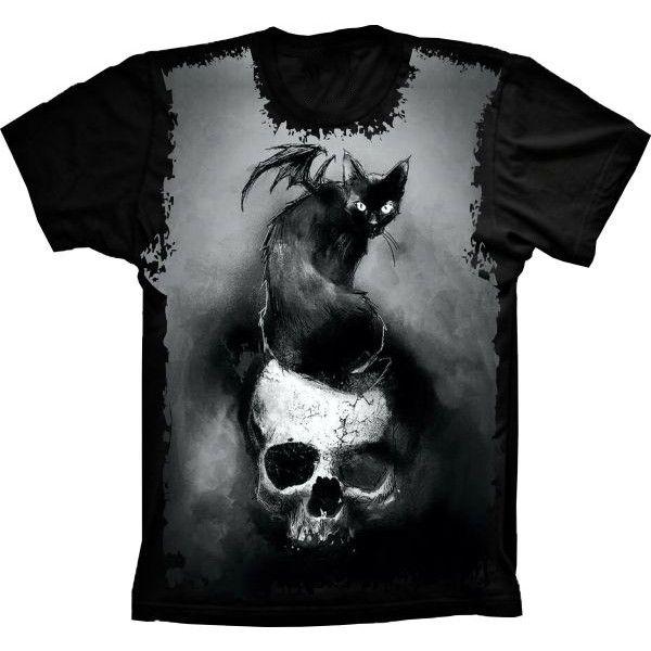 Camiseta Skull With a Cat