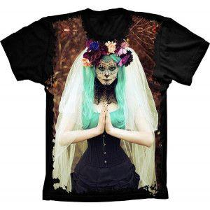Camiseta Skull Caveira Mexicana Noiva