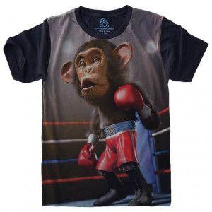 Camiseta Macaco Chimpanzé Boxe S-474