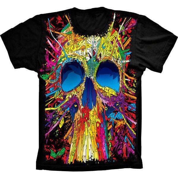 Camiseta Skull Caveira Colorida
