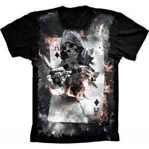 Camiseta Skull Caveira Baralho As