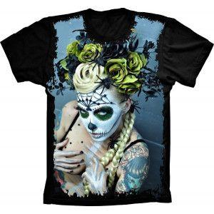 Camiseta Skull Caveira Beautiful Mulher S-204