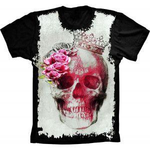 Camiseta Skull Caveira Roses