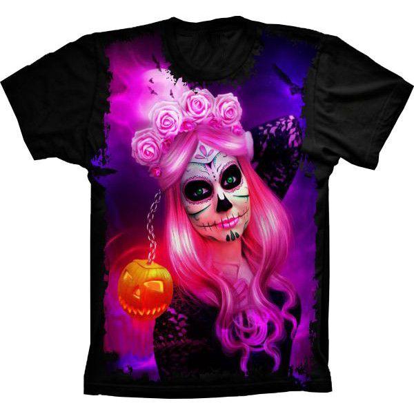 Camiseta Skull Caveira Pumpkin Mexicana