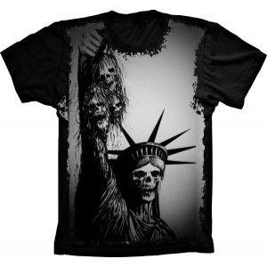 Camiseta Skull Caveira Estátua da Liberdade S-200