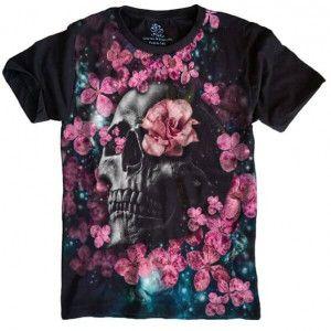 Camiseta Skull Roses Caveira S-429