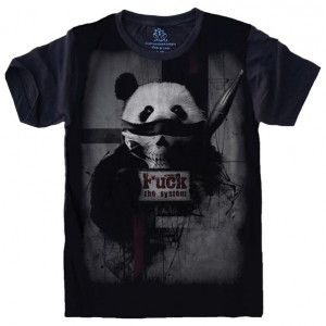 Camiseta Panda Fuck The System S-501