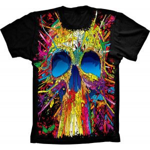 Camiseta Skull Caveira Colorida