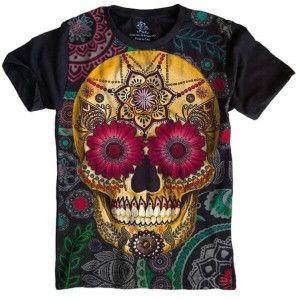 Camiseta Caveira Mexicana Skull S-428